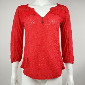 LUCKY BRAND Red/Orange Lace Top Small